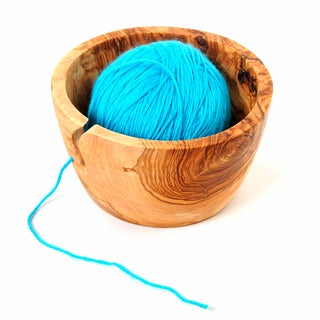 Handmade Olive Wood 7 inch Yarn Knitting Bowl