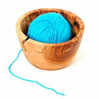Handmade Olive Wood 7 inch Yarn Knitting Bowl