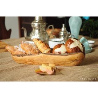 Handmade Olive Wood Bread Basket Baguette Basket