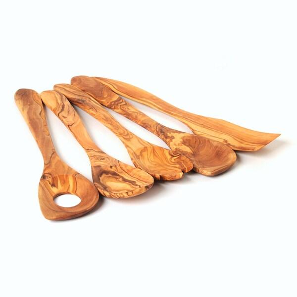 a1b859bb25 Shop Handmade Olive Wood Utensil Set of 5 Kitchen Tools (sauce spoon ...