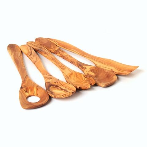 Handmade Olive Wood Utensil Set of 5 Kitchen Tools (sauce spoon, spoon, spork, cooking spoon, spatula) (Tunisia)