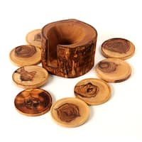 Handmade Olive Wood Rustic Coaster Set of 8 and Holder (Tunisia)