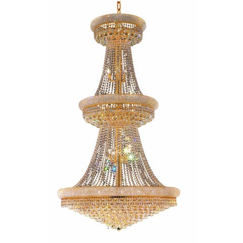 Elegant Lighting Gold 42-inch Royal Cut Crystal Clear Large Hanging Fixture