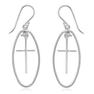 La Preciosa Sterling Silver Open Oval and Cross Dangle Earrings