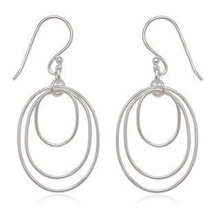 La Preciosa Sterling Silver Triple Oval Dangle Earrings