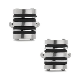 La Preciosa Stainless Steel and Rubber Men's Cuff Links