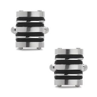 La Preciosa Stainless Steel and Rubber Men's Cuff Links