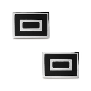 La Preciosa Stainless Steel and Enamel Men's Rectangular Cuff Links