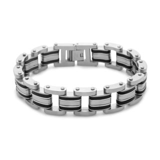 La Preciosa Stainless Steel and Black Rubber Men's Link Bracelet