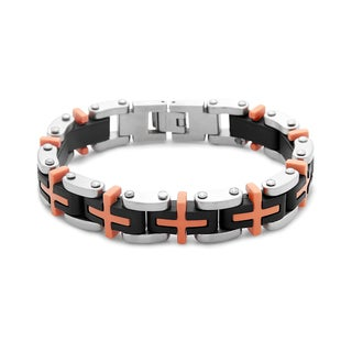 La Preciosa Stainless Steel Men's Black and Orange Rubber Link Bracelet