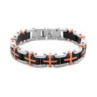 La Preciosa Stainless Steel Men's Black and Orange Rubber Link Bracelet