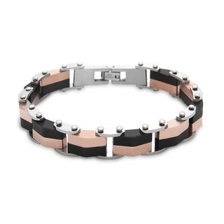La Preciosa Black and Rose-plated Stainless Steel Men's Link Bracelet