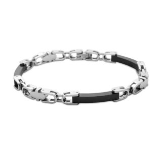 La Preciosa Stainless Steel Men's Black Bar Link Bracelet