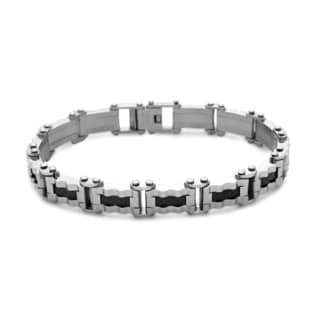 La Preciosa Stainless Steel Men's Black Carbon Wavy Design Link Bracelet