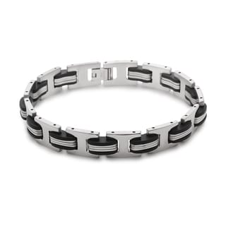 La Preciosa Stainless Steel Men's Colored Link Bracelet
