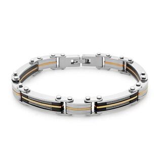 La Preciosa Stainless Steel Men's Two-tone Cable Design Link Bracelet