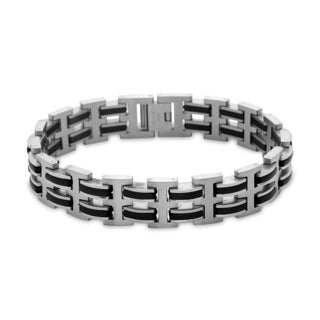 La Preciosa Stainless Steel Men's Wide Black Links Bracelet