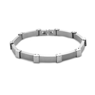 La Preciosa Stainless Steel Men's Matte and Shiny Link Bracelet