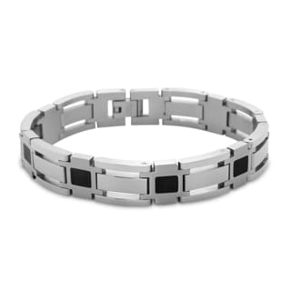 La Preciosa Stainless Steel and Black Enamel Men's Wide Link Bracelet