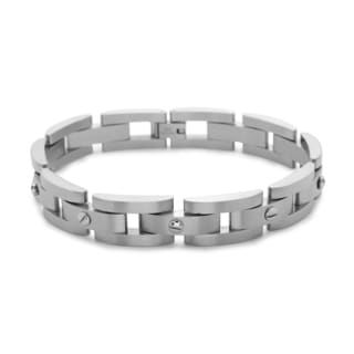 La Preciosa Stainless Steel Men's Matte Links with Screw Bracelet