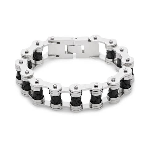La Preciosa Stainless Steel and Leather Bars Men's Link Bracelet