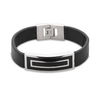 La Preciosa Stainless Steel Men's Leather Band and Rectangular Enamel Bar Bracelet