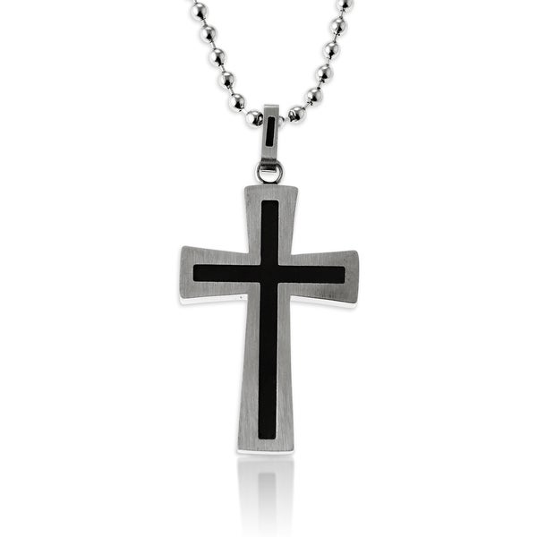 La Preciosa Stainless Steel and Black Carbon Men's Cross 24-inch 2mm Beaded Chain Necklace