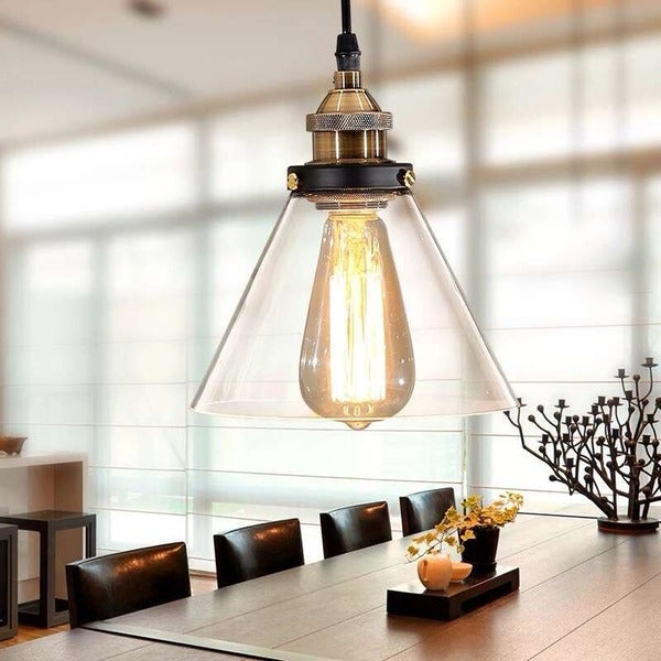 zhuri 8inch adjustable cord glass edison lamp with light bulb