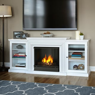 Real Flame Frederick White 72 in. L x 15.5 in. D x 30.1 in. H Gel Fuel Fireplace Entertainment Center