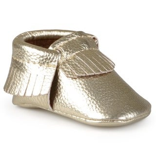 Journee Kids Fringed Faux Leather Moccasin Booties