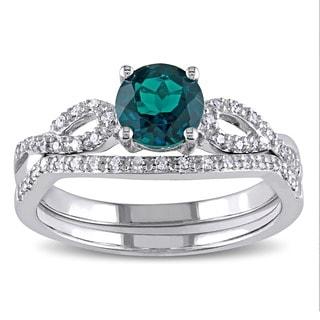 Miadora 10k White Gold Created Emerald and 1/6ct TDW Diamond Bridal Ring Set (G-H, I1-I2)
