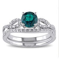 Miadora 10k White Gold Created Emerald and 1/6ct TDW Diamond Bridal Ring Set