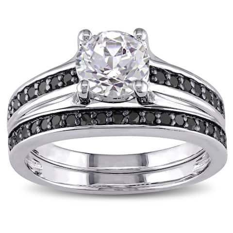 Miadora Sterling Silver Created White Sapphire and 1/3ct TDW Black Diamond Bridal Ring Set