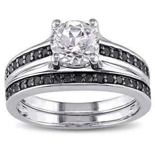 Miadora Sterling Silver Created White Sapphire and 1/3ct TDW Black Diamond Bridal Ring Set