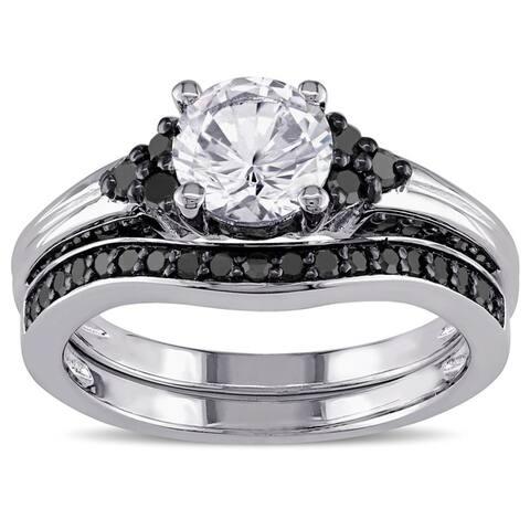 Miadora Sterling Silver Created White Sapphire and 3/5ct TDW Black Diamond Bridal Ring Set