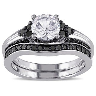 miadora sterling silver created white sapphire and 35ct tdw black diamond bridal ring set - Sapphire And Diamond Wedding Rings