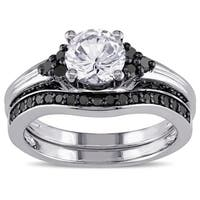 Miadora Sterling Silver Created White Sapphire and 3/5ct TDW Black Diamond Bridal Ring Set