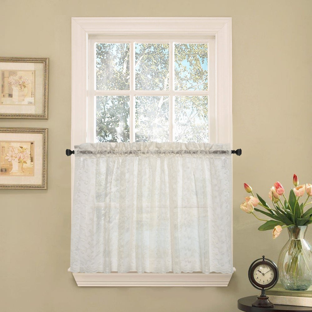 Shop Elegant Ivory Priscilla Lace Kitchen Curtain Pieces- Tier, Swag and Valance Options - 10207072
