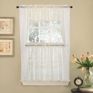 Elegant Ivory Priscilla Lace Kitchen Curtain Pieces  Tier, Swag And Valance  Options