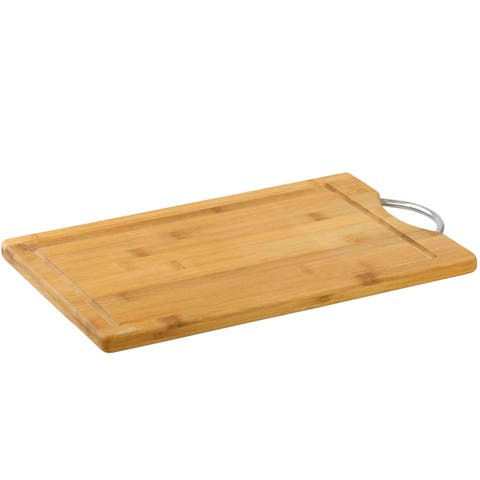 Bamboo Cutting Board with Juice Well and Chrome Handle - 10 x 15 x 1.5