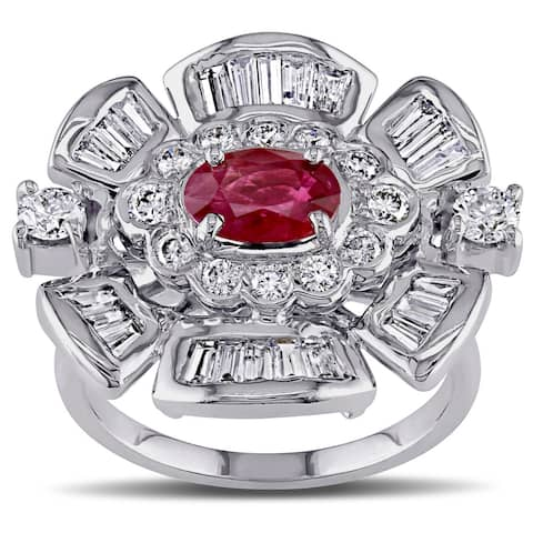 Miadora Signature Collection 18k White Gold Ruby and 7/8ct TDW Diamond Flower Cocktail Ring (G-H, SI - Red