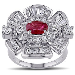 Miadora Signature Collection 18k White Gold Ruby and 7/8ct TDW Diamond Flower Cocktail Ring (G-H, SI1-SI2)