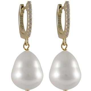 Luxiro Sterling Silver White Pear-shaped Shell Pearl and Cubic Zirconia Dangle Earrings