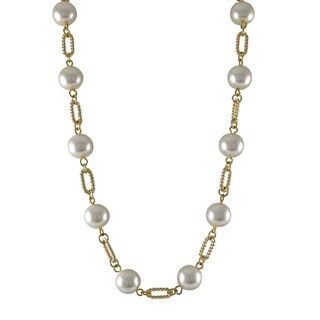 Luxiro Gold Finish White Faux Pearl Link Necklace