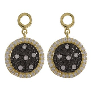 Luxiro Sterling Silver Two-tone Cubic Zirconia Circle Dangle Earrings