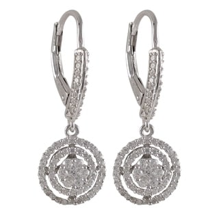 Luxiro Sterling Silver Cubic Zirconia Concentric Circle Dangle Earrings