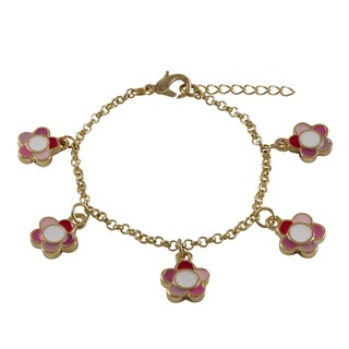 Luxiro Gold Finish Children's Multi-color Enamel Flower Charm Bracelet