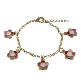 Luxiro Gold Finish Children's Multi-color Enamel Flower Charm Bracelet