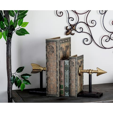 Pair of 7 Inch Traditional Split Arrow Iron Bookends by Studio 350