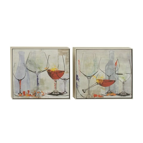 Set of 2 Contemporary 25 Inch Framed Wine Glasses Canvas Art by Studio 350 - Multi-color